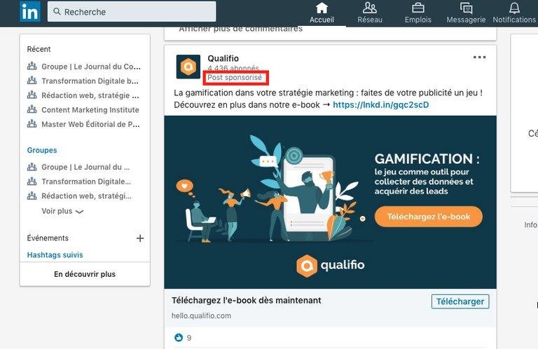 Exemple SEA avec une publicité LinkedIn