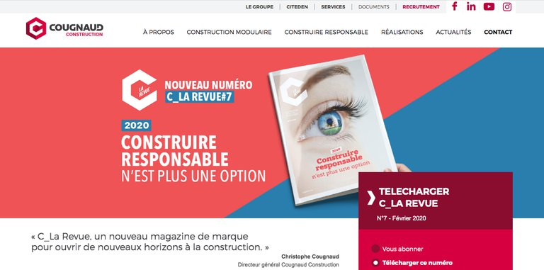 Content marketing exemple Cougnaud Construction