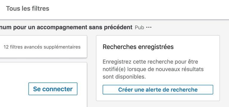 Créer une alerte de recherche sur Linkedin
