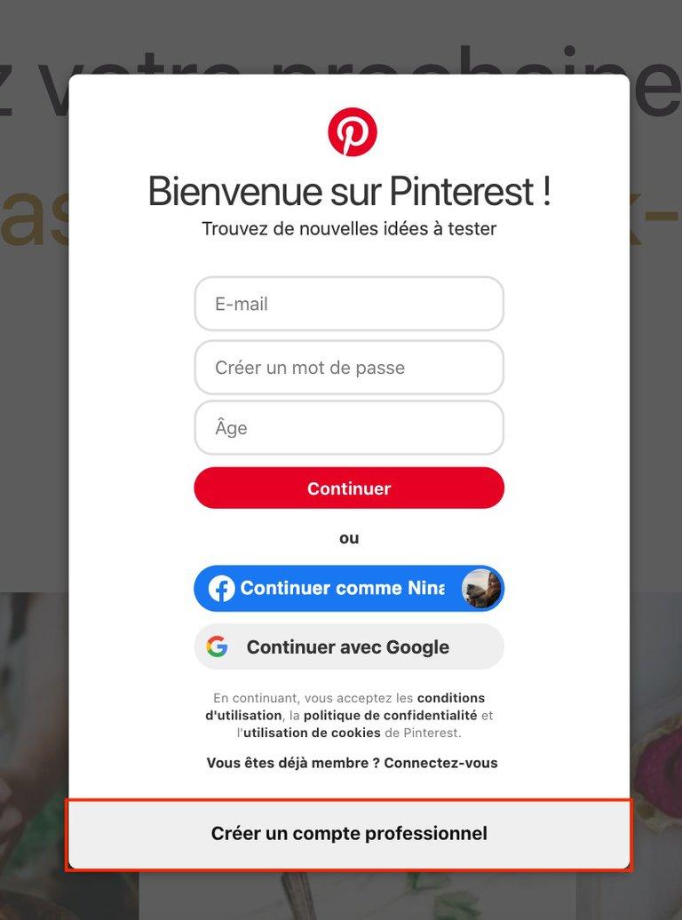 Etape 3 Créer Compte Professionnel Sur Pinterest
