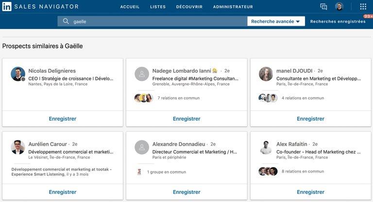 Profils similaires sur Sales navigator