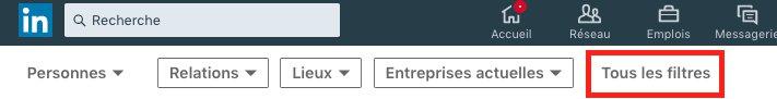 Tous les filtres en recherche Linkedin standard