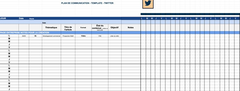 exemple de template de plan de communication twitter