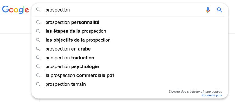 google suggestion prospection