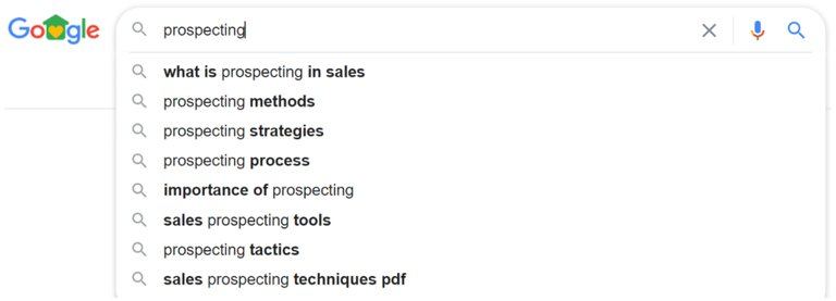 google's suggestion prospection